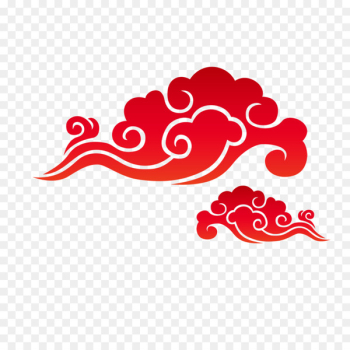 Chinese New Year Lunar New Year Papercutting Mid-Autumn Festival Poster - Red cloud material  png image transparent background