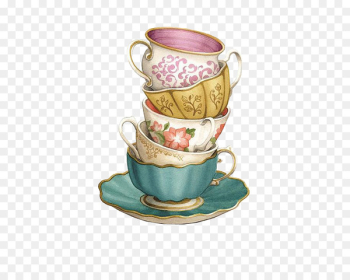 Teacup Coffee Saucer - Stacked cups  png image transparent background