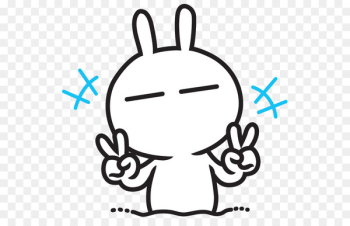 Tuzki Emoticon Rabbit KakaoTalk Sticker - rabbit  png image transparent background