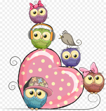 Owl Cartoon Stock illustration Illustration - Vector pink hearts and owls  png image transparent background
