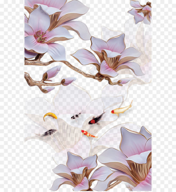Three-dimensional space Flower Stereoscopy - 3D stereoscopic flower and jade carp  png image transparent background