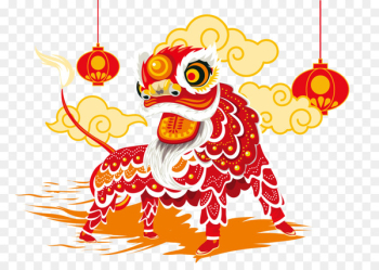Lion dance Chinese New Year Chinese calendar - Vector Red Lion  png image transparent background