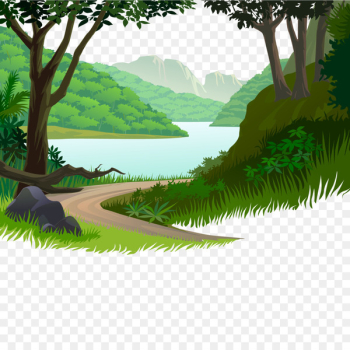 Nature Cartoon Illustration - Mountain road small river  png image transparent background