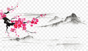 Japanese art Ink wash painting Japanese painting Cherry blossom - Ink Plum Vector material plum snow  png image transparent background