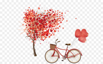 Euclidean vector Heart Tree - Bicycle and hand-painted heart-shaped tree  png image transparent background