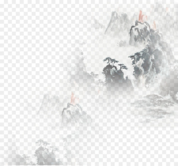 Cloud Chinoiserie Mountain - Painting effect of Chinese Feng mountain  png image transparent background