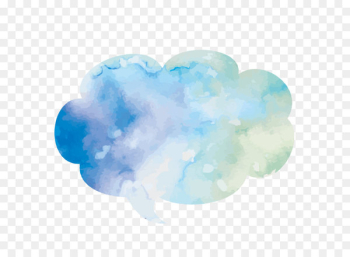 Watercolor painting Dialog box Text box - Vector hand-painted blue watercolor cloud dialog box  png image transparent background
