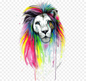 Lion Drawing Painting Art - Watercolor lion  png image transparent background