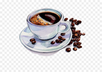 Coffee Tea Cafe Watercolor painting Drawing - Hand-painted watercolor coffee and coffee beans  png image transparent background