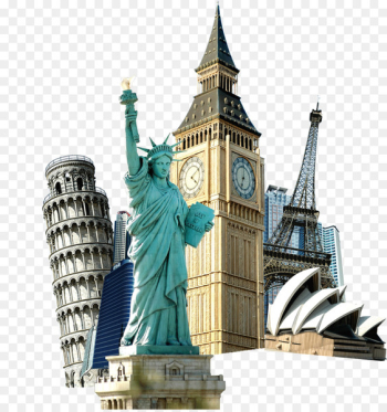 Statue of Liberty Eiffel Tower Travel Tourism - World landmarks buckle creative HD Free  png image transparent background