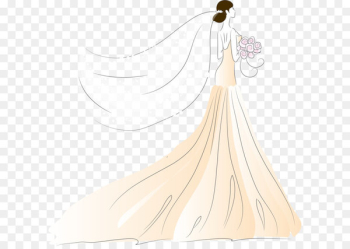Bride Contemporary Western wedding dress - Vector bride wearing a wedding dress  png image transparent background