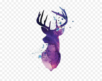Reindeer White-tailed deer Silhouette Watercolor painting - Purple watercolor deer  png image transparent background