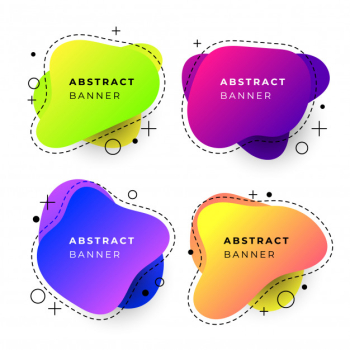 Abstract banner templates with fluid gradient shapes