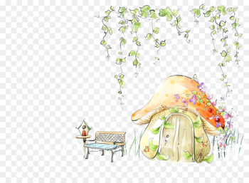 Fairy tale Template Microsoft PowerPoint Illustration - Mushroom small green plants under the house  png image transparent background