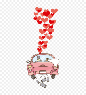 Wedding invitation Marriage Royalty-free Clip art - The bride and groom cartoon car picture [  png image transparent background
