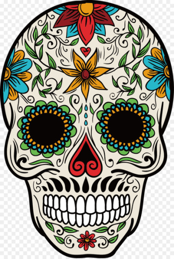 La Calavera Catrina Mexican cuisine Mexico Day of the Dead - Vector color hand-painted skull pattern  png image transparent background