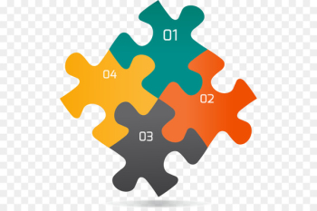 Jigsaw puzzle Infographic Graphic design - Four creative puzzles ppt  png image transparent background