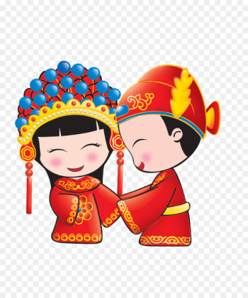 Wedding invitation Chinese marriage Bridegroom - Cartoon bride and groom  png image transparent background