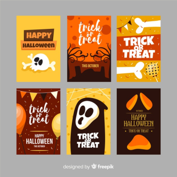 Halloween card collection on flat design Free Vector