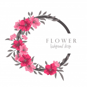 Flower wreath drawing hot pink circle frame with flowers Free Vector png image transparent background