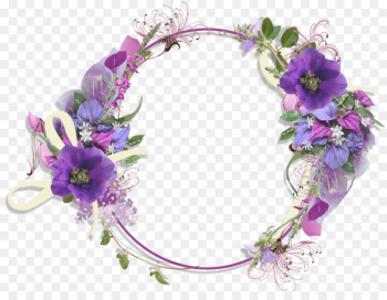Flower Purple Clip art - Floral Round Frame PNG Pic  png image transparent background