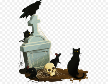 Black cat Calavera Halloween - Infiltration of the cemetery  png image transparent background
