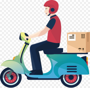 Delivery Motorcycle Courier Logistics Service - A motorcycle delivery man  png image transparent background