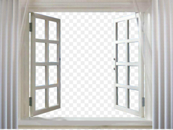 Window Picture frame Curtain - Open the windows and white curtains  png image transparent background
