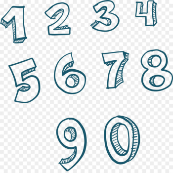 Number Euclidean vector Numerical digit Download - Hand-painted numbers 1 to 9  png image transparent background