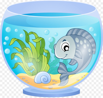 Aquarium Cartoon Goldfish - Blue fish and fish tank  png image transparent background