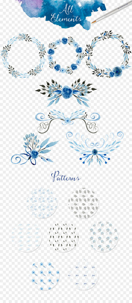 Watercolor painting Wedding invitation Clip art - All kinds of beautiful garland border  png image transparent background
