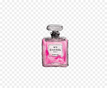 Chanel No. 5 Coco Mademoiselle Perfume - Painted pink Chanel perfume  png image transparent background