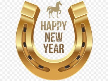 Horse New Year's Day Wish Clip art - Happy New Year with Horse and Horseshoe PNG Clipart  png image transparent background