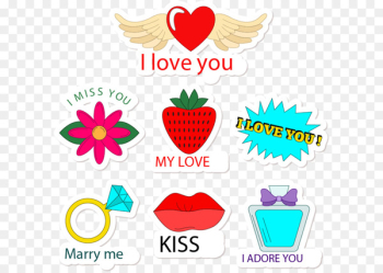 Cartoon love stickers  png image transparent background
