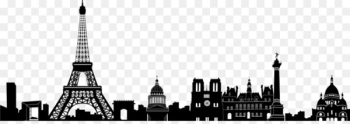 Eiffel Tower Skyline Silhouette Illustration - Paris PNG Image  png image transparent background