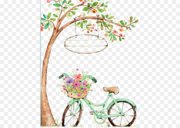 Watercolor painting Bicycle Drawing - Drawing Bicycle  png image transparent background