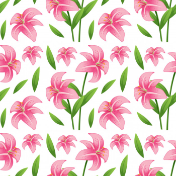 Seamless pattern tile cartoon with lilly flower Free Vector