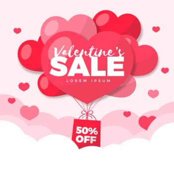 Flat design valentines day sale Free Vector