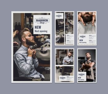 Instagram stories set with barber concept Free Psd