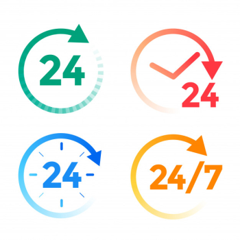 24 hours a day service icons set Free Vector