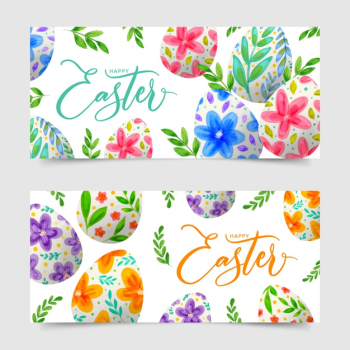 Watercolor design easter day banners with eggs Free Vector