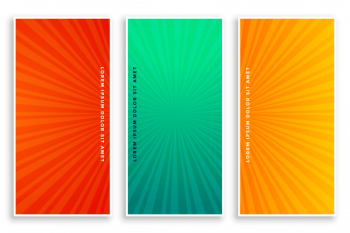 Comic zoom lines banners set Free Vector