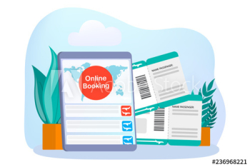 Booking airplane ticket online on the device