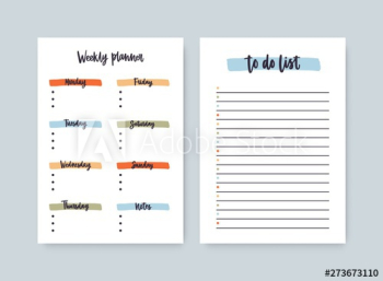 Bundle of weekly planner and to-do-list templates with headings highlighted by brushstrokes
