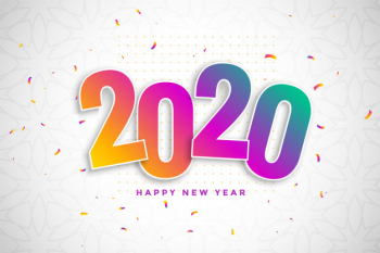 Colorful new year background in 3d style with confetti Free Vector