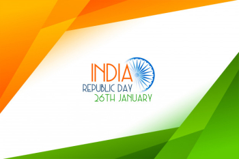 Geometric style tricolor indian republic day card Free Vector