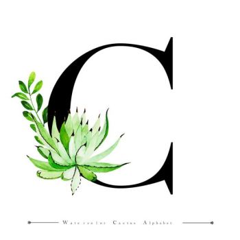 Alphabet Letter C With Watercolor Cactus And Leaves Background ... png image transparent background