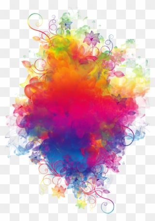 Boom Smoke Colorful Watercolor Rainbow Flowers Colorspl - Colored ... png image transparent background
