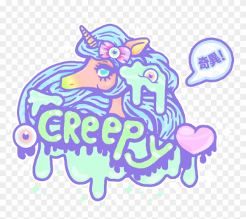 Creepy Cute By - Cute Unicorn Drawing Creepy, HD Png Download ... png image transparent background