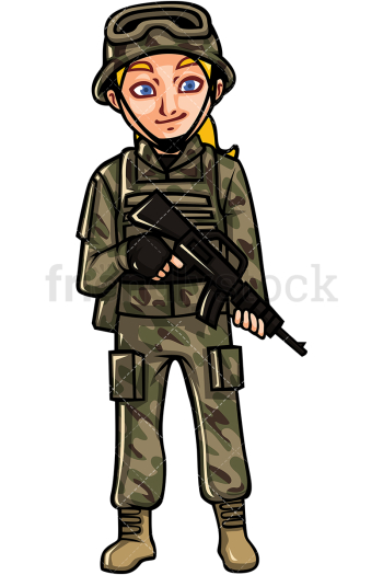 US Army Female Soldier Cartoon Vector Clipart - FriendlyStock png image transparent background